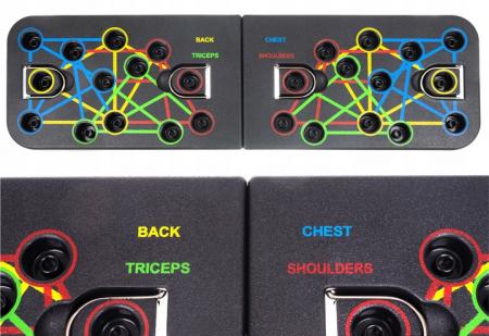 Placa pentru flotari multifunctionala, pe baza de culori, cu manere, pentru piept, umeri, spate si triceps, Malatec [5]