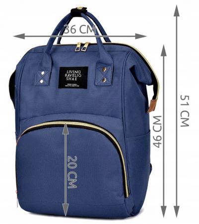 Rucsac geanta multifunctionala pentru mamici, Living Traveling atasabil la carucior, organizator articole,Albastru Inchis [4]