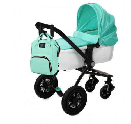 Rucsac geanta multifunctionala pentru mamici Living Traveling atasabil la carucior organizator articole bleu [10]