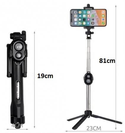 Selfie Stick Universal 2 in 1 Extensibil Trepied Foto pentru Telefon + Telecomanda Bluetooth [2]