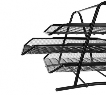 Set 3 tavite documente orizontale negru metal [1]