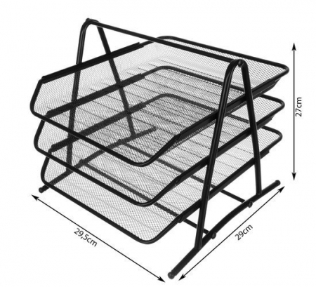 Set 3 tavite documente orizontale negru metal [3]