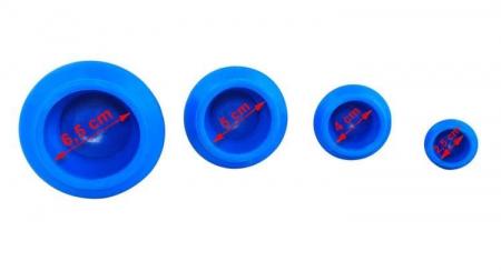 Set 4 ventuze chinezesti pentru tratarea bolilor Iso Trade, Cauciuc, Albastru [2]