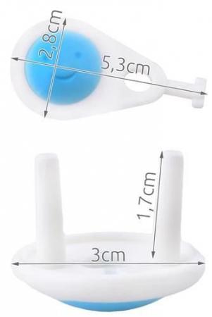 Set 6 protectii pentru priza  alb/albastru set 6 buc + 1 cheie6