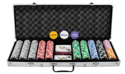 Set de poker cu 500 jetoane greutate jeton 13g include servieta aluminiu 5 zaruri 2 pachete carti de joc [10]