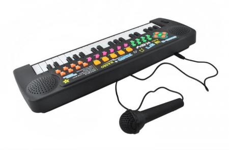 Set Orga Electronica pentru Copii cu 37 Clape, Microfon si Radio, Culoare Negru3