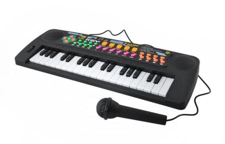 Set Orga Electronica pentru Copii cu 37 Clape, Microfon si Radio, Culoare Negru0