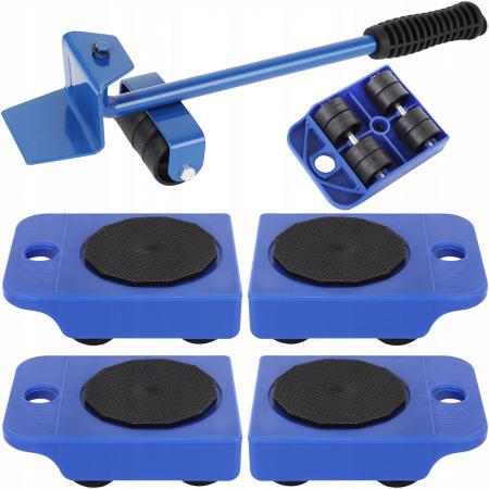 Set Pentru Ridicat si transportat mobila 4 picioare cu roti si maneta de ridicare max 150kg [0]
