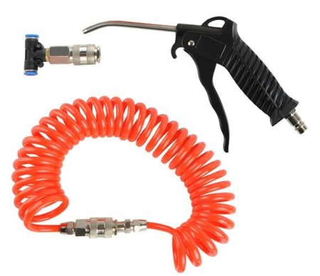 Pistol aer Cabina,set din 3 piese pentru compresor si aer comprimat, lungime furtun 5m [0]