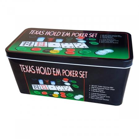 Set Poker Texas  200 jetoane si carti, cutie metalica, accesorii [0]