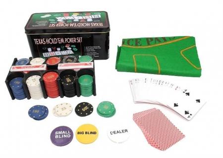 Set Poker Texas  200 jetoane si carti, cutie metalica, accesorii [1]