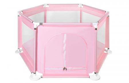 Spatiu de joaca tarc pentru copii tip piscina pliabil  dimensiune 125x65 cm  culoare roz [0]