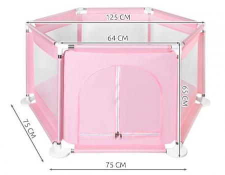 Spatiu de joaca tarc pentru copii tip piscina pliabil  dimensiune 125x65 cm  culoare roz [5]