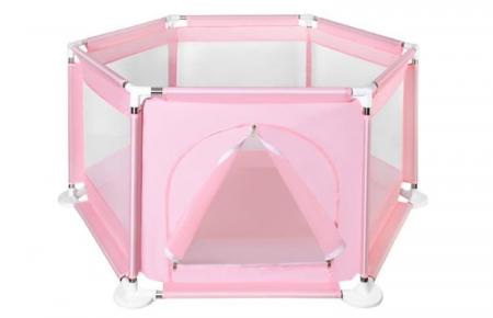 Spatiu de joaca tarc pentru copii tip piscina pliabil  dimensiune 125x65 cm  culoare roz [6]
