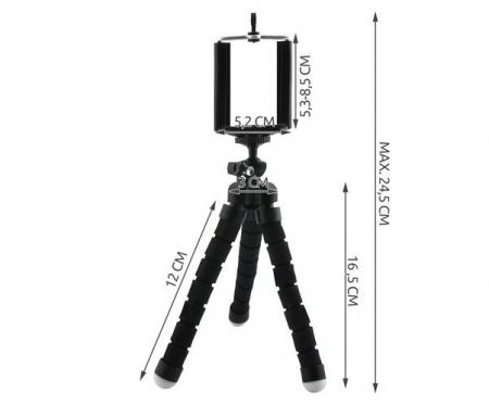 Suport Telefon Trepied Pentru Birou Tripod Selfie Camere Tablete Flexibil Negru6