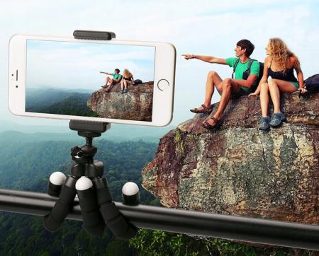 Suport Telefon Trepied Pentru Birou Tripod Selfie Camere Tablete Flexibil Negru11