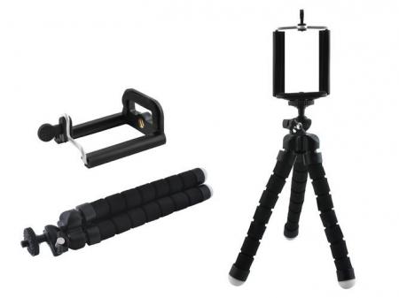 Suport Telefon Trepied Pentru Birou Tripod Selfie Camere Tablete Flexibil Negru1