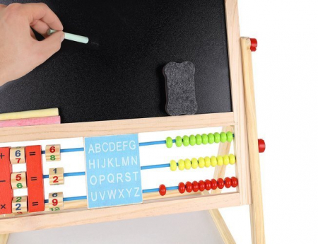 Tablita magnetica cu 2 fete, MT Malatec, socotitoare, marker, creta colorata, burete, suport, 43.5x36cm [5]