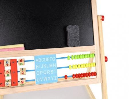 Tablita magnetica cu 2 fete, MT Malatec, socotitoare, marker, creta colorata, burete, suport, 43.5x36cm [6]