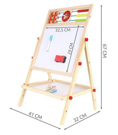 Tablita magnetica cu 2 fete, MT Malatec, socotitoare, marker, creta colorata, burete, suport, 43.5x36cm [10]