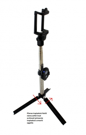 Selfie Stick Universal 2 in 1 Extensibil Trepied Foto pentru Telefon + Telecomanda Bluetooth2