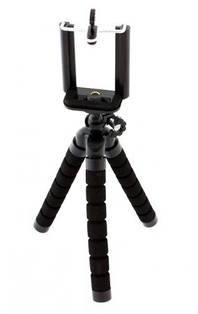 Suport Telefon Trepied Pentru Birou Tripod Selfie stick  inaltime 26 cm negru cu picioare albe0