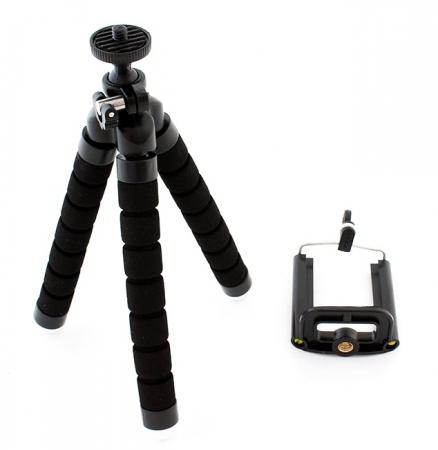 Suport Telefon Trepied Pentru Birou Tripod Selfie stick  inaltime 26 cm negru cu picioare albe2