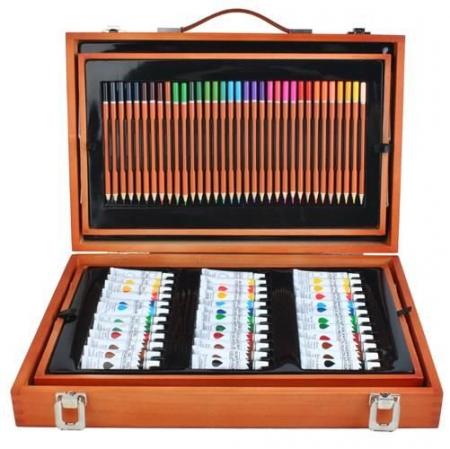 Set de pictura si desen Edays, Cutie de depozitare din lemn, 174 de piese [2]