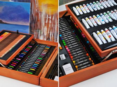 Set de pictura si desen Edays, Cutie de depozitare din lemn, 174 de piese [5]