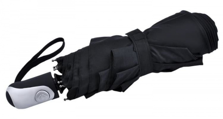 Umbrela  pliabila automata deschis/inchis cu buton neagra complet 110cm diametru, articulatii anti-vant1