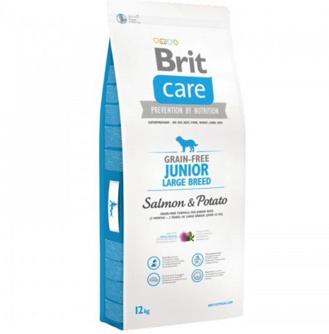 Brit Care Grain Free Junior Large Somon Cartof 12 kg 0