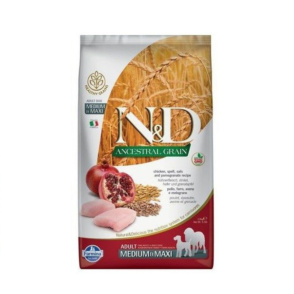 N&D Ancestral Grain Adult Medium & Maxi Pui si Rodie 12kg 0