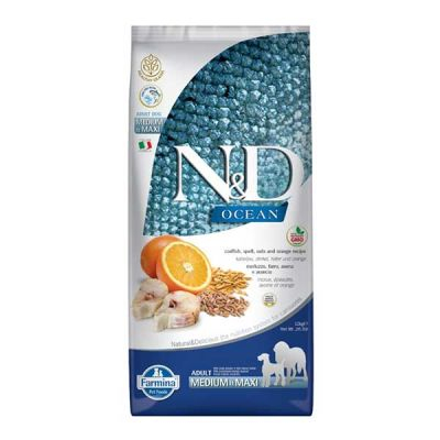 N&D Dog Ocean Adult Medium & Maxi Codfish and Orange 12 kg 1