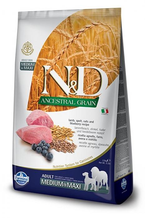 N&D Ancestral Grain Adult Medium & Maxi Miel si Afine 12kg 0