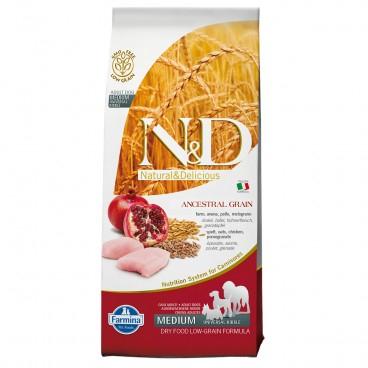 N&D Ancestral Grain Adult Medium & Maxi Pui si Rodie 12kg 0