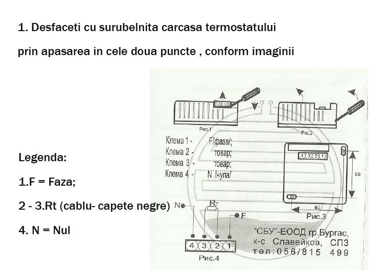 Mod conectare cablu de rezistenta la termostat