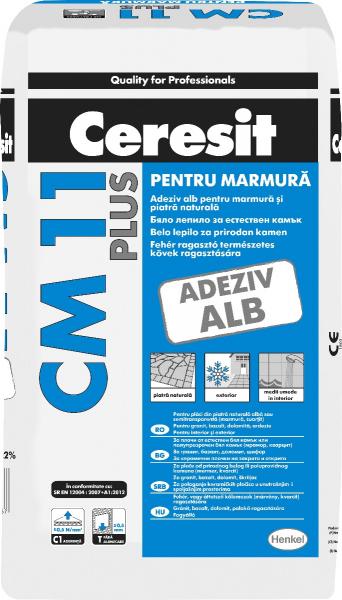 ADEZIV MARMURA SI PIATRA NATURALA CERESIT CM 11 PLUS, ALB, PENTRU INTERIOR/EXTERIOR 25 KG 0