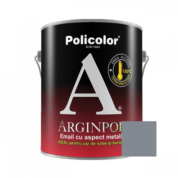 Vopsea alchidica pentru usi de sobe si burlane, Policolor Arginpol, interior / exterior, argintiu / aluminiu E5061, 2.5 L 0