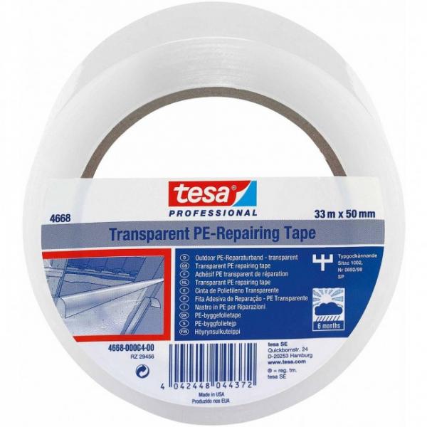 Banda din polietilena transparenta TESA 04668 50 mm 33 m Tranparent 0