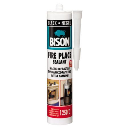 Mastic refractar Bison,530g, negru 0