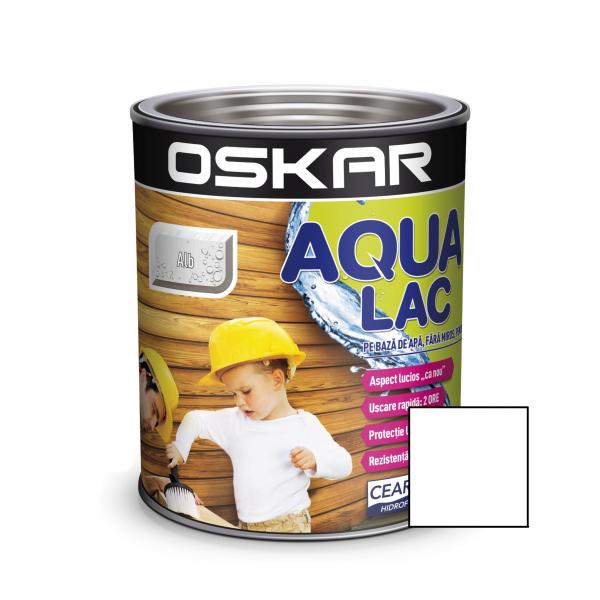 Lac pentru lemn Oskar Aqua Lac, alb, pe baza de apa, interior / exterior, 2.5 L 0
