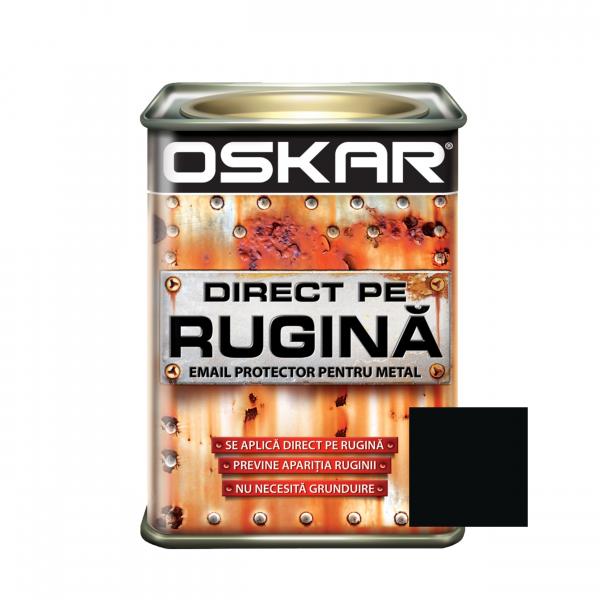Vopsea alchidica Direct pe rugina Oskar, interior / exterior, negru mat - fier forjar, 0.5 L 0