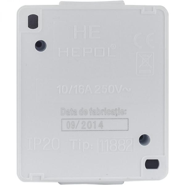 Priza simpla HEPOL PT, aparent/PT, alb 1