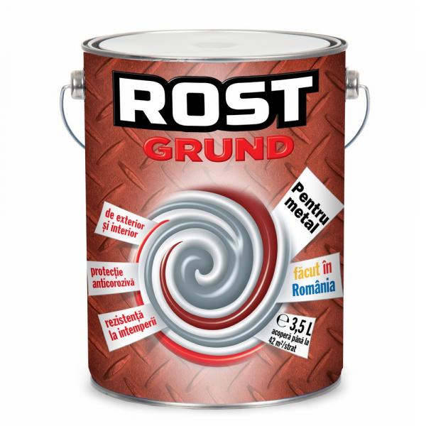 Grund pentru metal Rost, interior / exterior, rosu oxid, 3.5 L 0