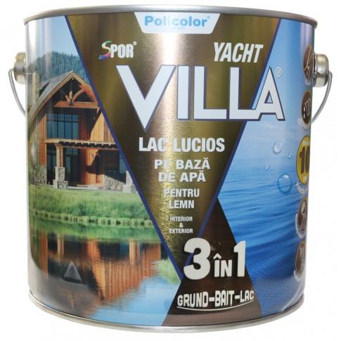 Lac pentru lemn Spor Villa Yacht, CIRES pe baza de apa, interior / exterior, 2.5 L 3IN1 0