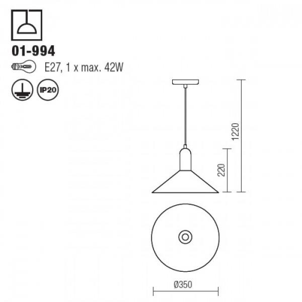 SUSPENSIE REDO PEEK Ø350mm,METAL CUPRAT E27 2