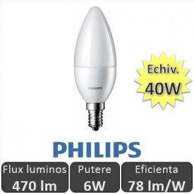Bec LED Philips - LEDcandle 6W E14 230V B39 alb-cald0