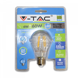 BEC LED V-TAC FILAMENT A60 E27 6W [0]