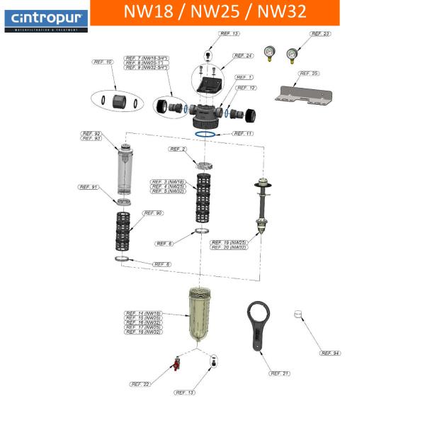 Suport grila din PVC pentru manson Filtru NW25 1
