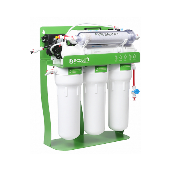 Purificator cu osmoza inversa cu pompa booster  si cadru metalic Ecosoft P'URE Balance 1